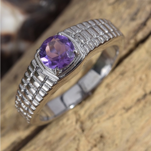 Other - Amethyst Stainless Steel Men's Ring